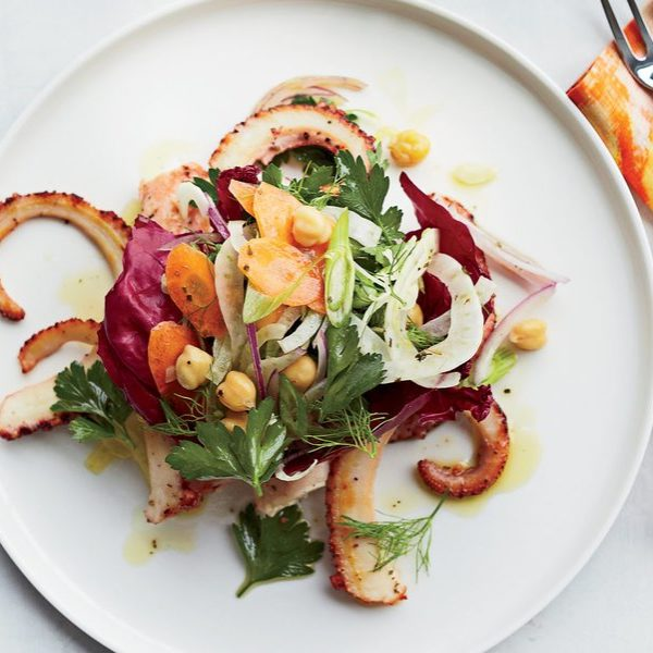 Pan-seared octopus with italian vegetable salad